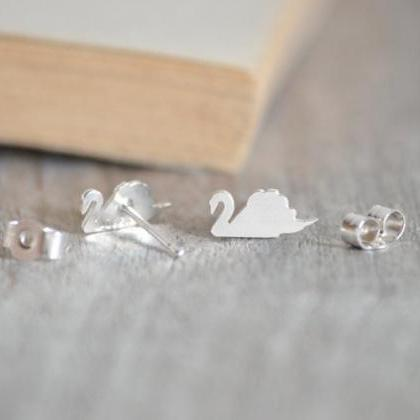 Swan Stud Earrings In Solid Sterlin..