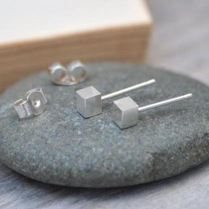 Little Cube Stud Earrings, Simple E..
