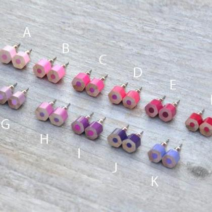 Color Pencil Earring Studs, The Hex..