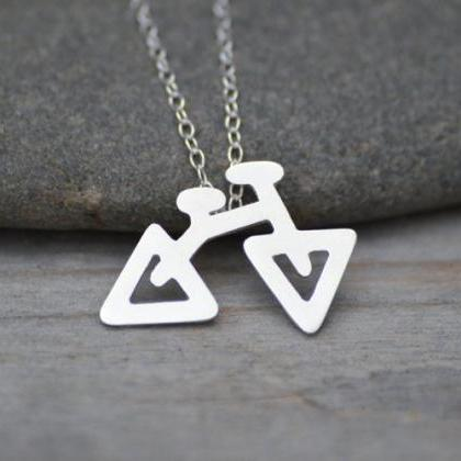 Bicycle Necklace In Sterling Silver..