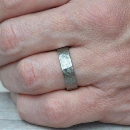 Hammered Effect Wedding Band in Ste..