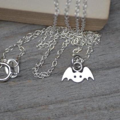 Tiny Bat Necklace In Sterling Silve..