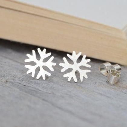 Snowflake Earring Studs, Winter Ear..