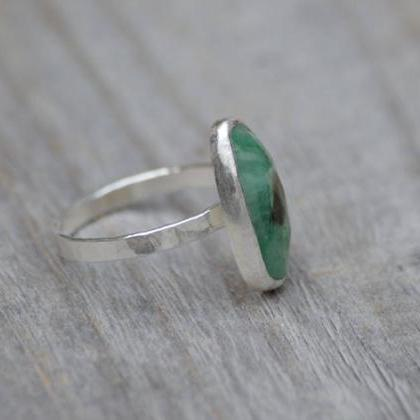 Rose Cut Emerald Ring, 2.55ct Emera..