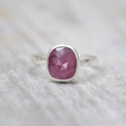 Rose Cut Ruby Ring, 1.75ct Ruby Wed..