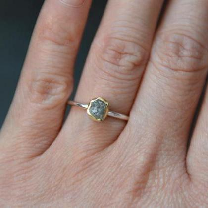 Raw Diamond Engagement Ring With 18..