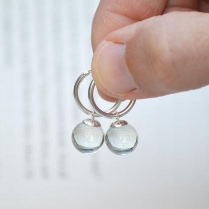 Glass Ball Dangle Earrings With Ste..