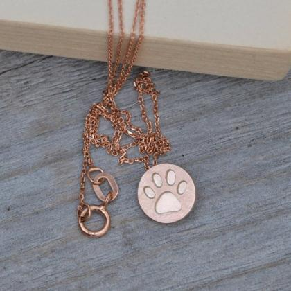 Pawprint Necklace In Solid 9ct Yell..