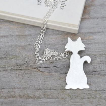 Naughty Cat Necklace In Sterling Si..