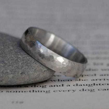 Platinum Wedding Band With Hammer E..