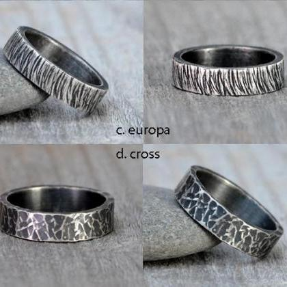 Oxidised Textured Wedding Band in S..