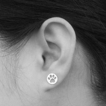 Hollow Pawprint Earring Studs In 9c..