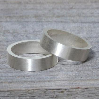 Flat Wedding Ring 5 mm Wide In Ster..