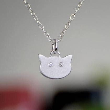 Cat Necklace With Diamond Eyes, Kit..