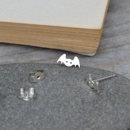 Bat Earring Studs In Sterling Silve..