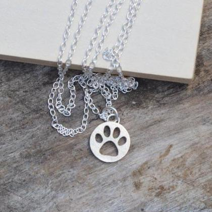 Hollow Pawprint Necklace In Sterlin..