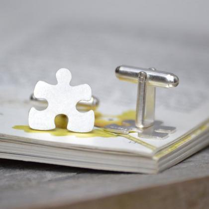 Jigsaw Puzzle Cufflinks In Sterling..