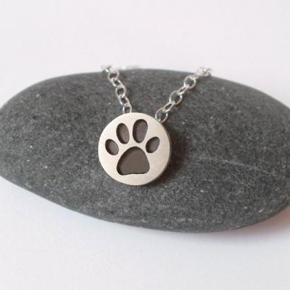 Pawprint Necklace In Oxidized Sterl..