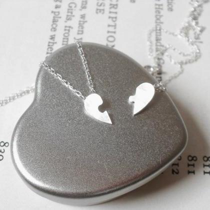 Jigsaw Puzzle Heart Necklace, Lover..