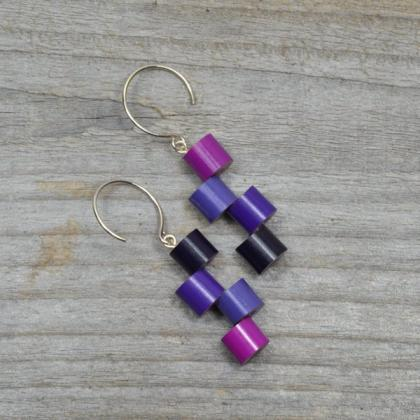 Purple Color Pencil Earrings With S..