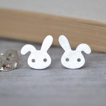 Bunny Rabbit Earring Studs With Flo..