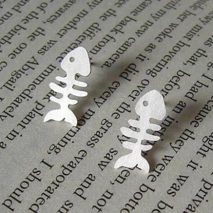 Fishbone Earring Studs In Sterling ..
