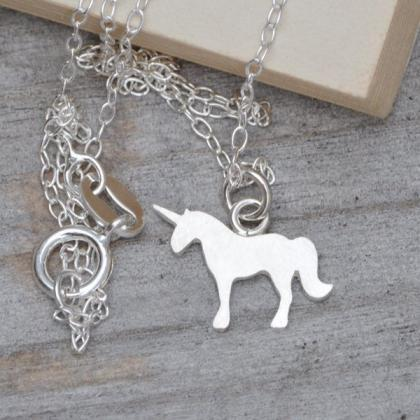 Unicorn Necklace In Sterling Silver..