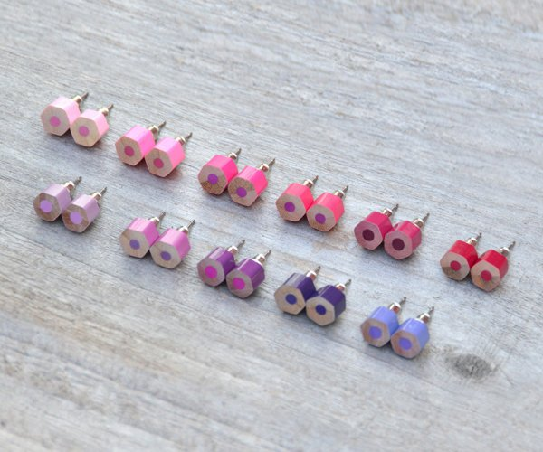 Color Pencil Earring Studs, The Hexagon Version In Pink & Purple, Handmade In England By Huiyi Tan