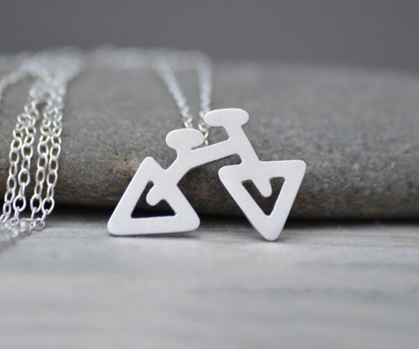Bicycle Necklace In Sterling Silver, The Triangular Bicycle Necklace, Handmade In The UK