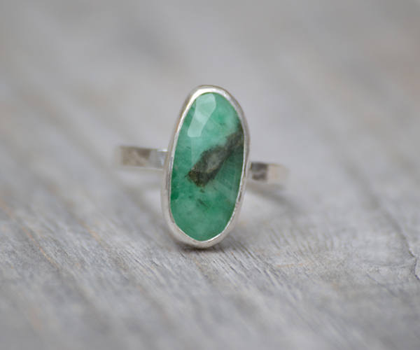 Rose Cut Emerald Ring, 2.55ct Emerald Ring, May Birthstone, Emerald Gift, Handmade In The UK