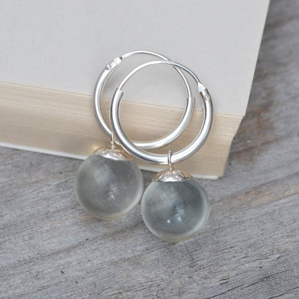 Glass Ball Dangle Earrings With Sterling Silver Hoops, Bridal Earrings, Handmade In England