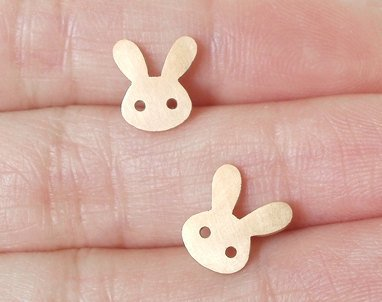 Bunny Rabbit Earring Studs With Straight Ears In 9ct Yellow Gold, Handmade In England