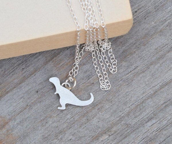 T-Rex Necklace, Dinosaur Necklace, Tyrannosaurus Necklace, Handmade Dinosaur In Sterling Silver