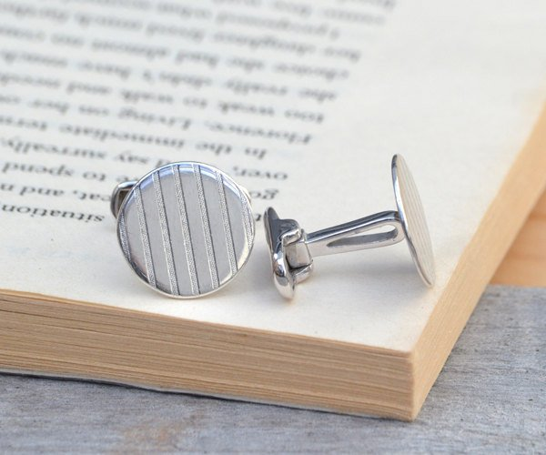 Simple Cufflinks In Sterling Silver, Classic Cufflinks With Stripes, Geometric Shape Cufflinks For Him