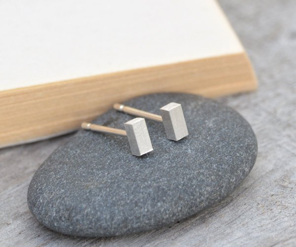 Little Stick Earring Studs, Simple Bar Earring Studs, Handmade In England