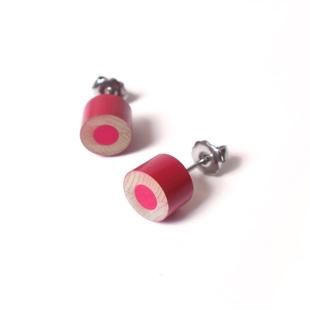 Color Pencil Earring Studs In Rose Pink, Pencil Jewelry Handmade In The UK By Huiyi Tan