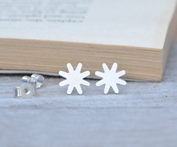 Star Earring Studs In Sterling Silver Handmade In England