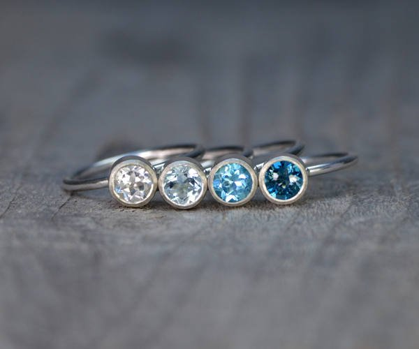 Topaz Stacking Rings Set In Sterling Silver, Topaz Stacker, Topaz Solitaire Ring, Topaz Engagement Ring, November Birthstone Ring