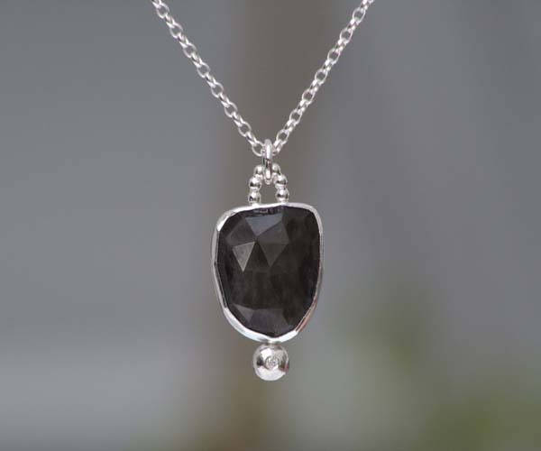 Brown Sapphire And Diamond Necklace, Over 7ct Brown Sapphire Neckacel, September Birthstone Gift, Handmade In The UK