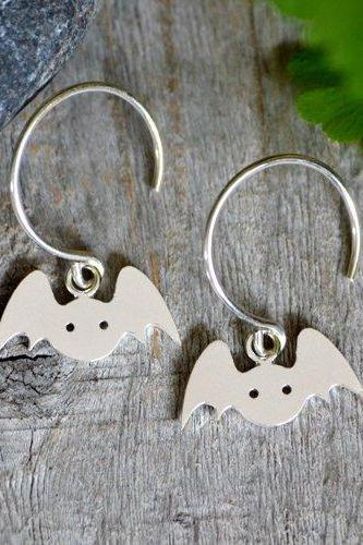 Bat Earrings In Sterling Silver, Animal Earring Studs, Handmade In The UK