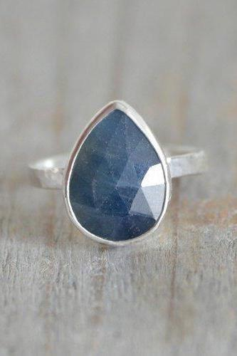 Rose Cut Sapphire Ring, 3.5ct Raindrop Sapphire Statement Ring, September Birthstone Ring, Wedding Gift, Something Blue Gift