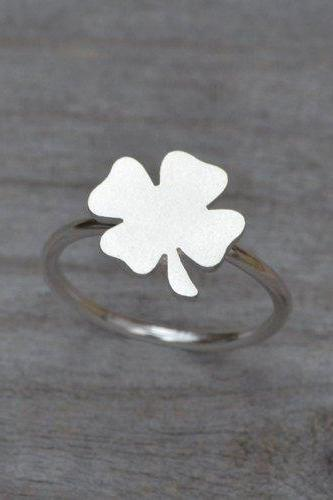 Lucky Shamrock Ring In Sterling Silver, Stackable 4 Leaves Clover Ring