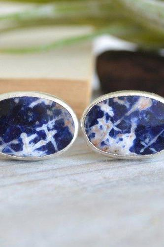 Sodalite Cufflinks Set In Sterling Silver, Something Blue Wedding Gift For Him, Handmade In UK