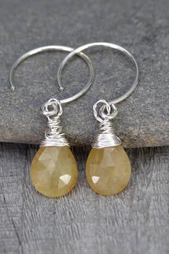 Yellow Sapphire Earrings, September Birthstone, Sapphire Gift Handmade In The UK