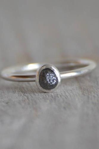 Raw Diamond Engagement Ring, Dark Grey Diamond Ring, April Birthstone, Diamond Stacking Ring, 0.5ct Diamond Ring