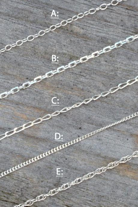Solid Sterling Silver Chain, Trace, Diamond Cut Trace, Diamond Cut Curb, Curb And Rope, 14', 16', 18', 20', 22', 24', made in England