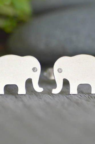 Elephant Cufflinks With Diamond Eyes, Personalized Elephant Cufflinks Handmade In The UK