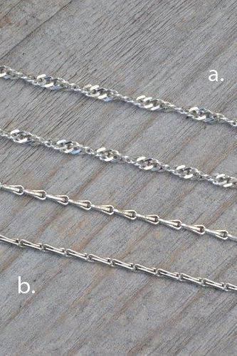 Barleycorn Chain And Twisted Curb Chain In Sterling Silver, 14', 16', 18', 20', 22', 24', 30' Handmade In England