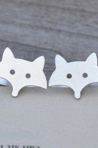 Fox Cufflinks In Sterling Silver, Handmade In The UK