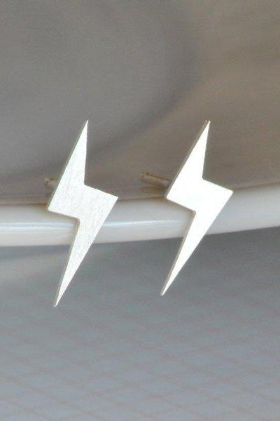Lightning Ear Studs In Sterling Silver, Weather Forecast Earring Studs, Rainy Day Earring Studs, Handmade In The UK